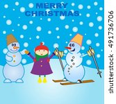 snowman  vector illustration.... | Shutterstock .eps vector #491736706