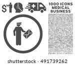 gray postman vector rounded... | Shutterstock .eps vector #491739262