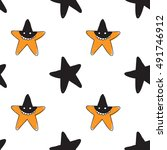 halloween seamless pattern with ... | Shutterstock .eps vector #491746912