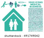 family house icon with 1000... | Shutterstock .eps vector #491749042