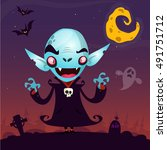 cute cartoon vampire. halloween ... | Shutterstock .eps vector #491751712
