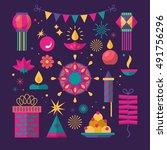 diwali hindu festival flat... | Shutterstock .eps vector #491756296