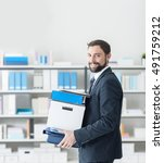 smiling businessman carrying a... | Shutterstock . vector #491759212