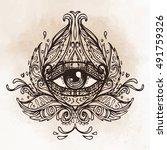 all seeing eye in ornate round... | Shutterstock .eps vector #491759326