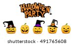 halloween party background with ... | Shutterstock .eps vector #491765608