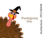 holiday turkey on thanksgiving... | Shutterstock .eps vector #491768548