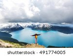 hike to turquoise waters of... | Shutterstock . vector #491774005