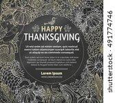 vector chalk thanksgiving... | Shutterstock .eps vector #491774746