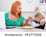 young woman working on notebook ... | Shutterstock . vector #491775208