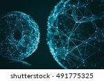 futuristic virtual connection...   Shutterstock . vector #491775325
