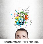 close up of woman's head... | Shutterstock . vector #491785606