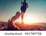 young lady running on the...   Shutterstock . vector #491789758