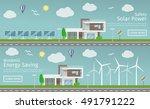 modern houses with alternative... | Shutterstock .eps vector #491791222
