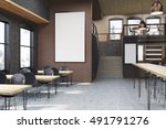 cafe interior with posters ... | Shutterstock . vector #491791276