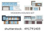 modern houses set  real estate... | Shutterstock .eps vector #491791405