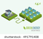 house with alternative eco... | Shutterstock .eps vector #491791408