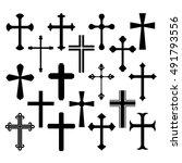 christian cross icons set on... | Shutterstock .eps vector #491793556