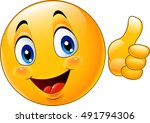 cartoon emoticon giving thumb up | Shutterstock .eps vector #491794306