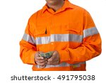 supervisor or work man with... | Shutterstock . vector #491795038