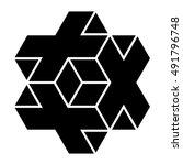 necker cube icon vector  3d... | Shutterstock .eps vector #491796748