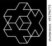 necker cube icon vector  line... | Shutterstock .eps vector #491796775