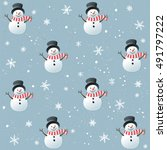 christmas seamless pattern with ... | Shutterstock .eps vector #491797222