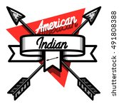 color vintage american indian...   Shutterstock .eps vector #491808388