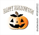 halloween orange pumpkin.... | Shutterstock .eps vector #491810512