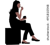 young woman eating ice cream | Shutterstock .eps vector #491810548