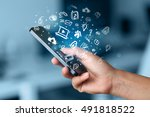 hand holding smartphone with... | Shutterstock . vector #491818522