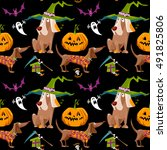 dogs in halloween costumes with ...   Shutterstock .eps vector #491825806