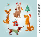holiday for dogs. four dogs and ... | Shutterstock .eps vector #491825938