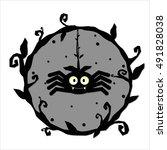 halloween spider. vector... | Shutterstock .eps vector #491828038