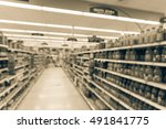 blurred image of supermarket... | Shutterstock . vector #491841775