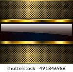 golden metallic background  3d... | Shutterstock .eps vector #491846986