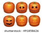 halloween orange pumpkin set.... | Shutterstock .eps vector #491858626