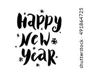 happy new year card with hand... | Shutterstock .eps vector #491864725