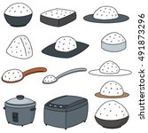 vector set of rice and rice... | Shutterstock .eps vector #491873296
