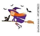 halloween holiday. cute little... | Shutterstock .eps vector #491878822