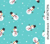 snowman vector illustration... | Shutterstock .eps vector #491879296