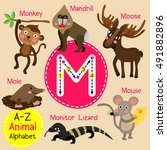 M Letter Tracing. Monkey. Mous...