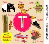cute children zoo alphabet t... | Shutterstock .eps vector #491883025