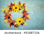 Autumn Wreath Of Rudbeckia And...
