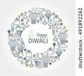 happy diwali design with... | Shutterstock .eps vector #491892262