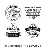 set of vintage barber shop logo ... | Shutterstock .eps vector #491892526
