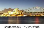 sydney harbour with opera house ... | Shutterstock . vector #491905906