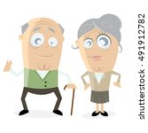 clipart of a happy senior couple | Shutterstock .eps vector #491912782