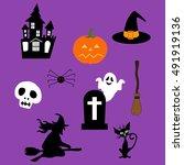 halloween decor set. witch ...   Shutterstock .eps vector #491919136