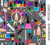 manicure  nail salon. seamless... | Shutterstock .eps vector #491921812