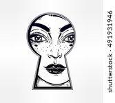 beautiful girl peeping through... | Shutterstock .eps vector #491931946